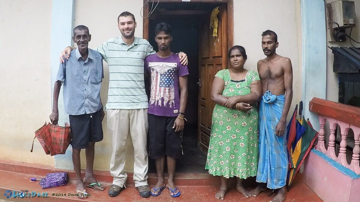 Derek Freal with the toddy family in Trincomalee, Sri Lanka