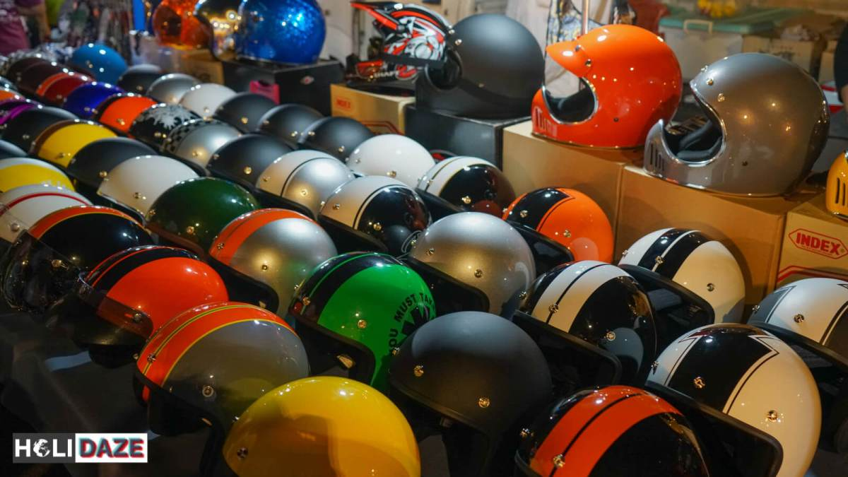 Motorcycle helmets for sale at JJ Green Night Market in Bangkok