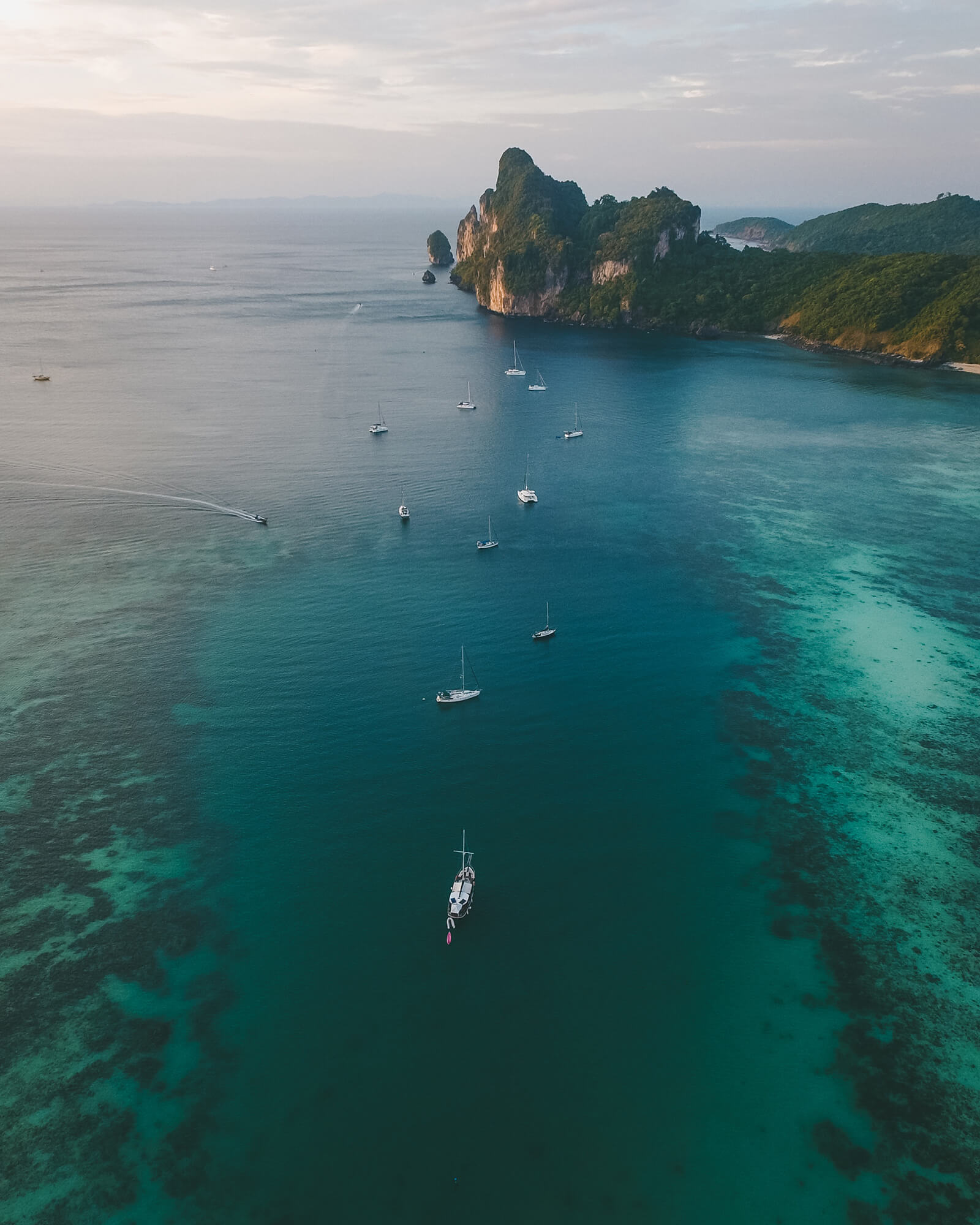 Aerial drone view of the Ko Phi Phi in southern Thailand, one of the most popular and gorgeous destinations in Thailand