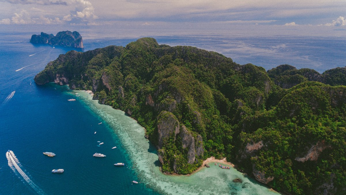 Aerial drone view of the Phi Phi Islands in southern Thailand, one of the most popular and gorgeous destinations in Thailand