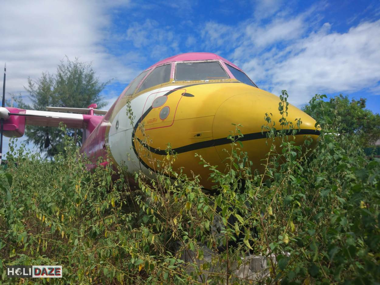 Nok Air plane abandoned in the woods near Mae Rumphueng Beach in Rayong, Thailand.