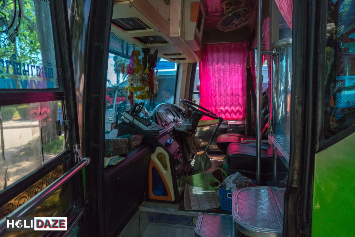 The driver's area on Thai buses is huge and includes sleeping quarters