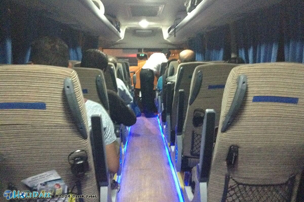 Inside the Etihad Shuttle, a free shuttle Abu Dhabi to Dubai, in the United Arab Emirates