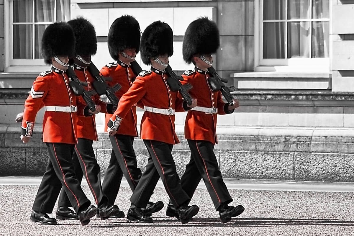 Guards at Buckingham Palace in London, UK