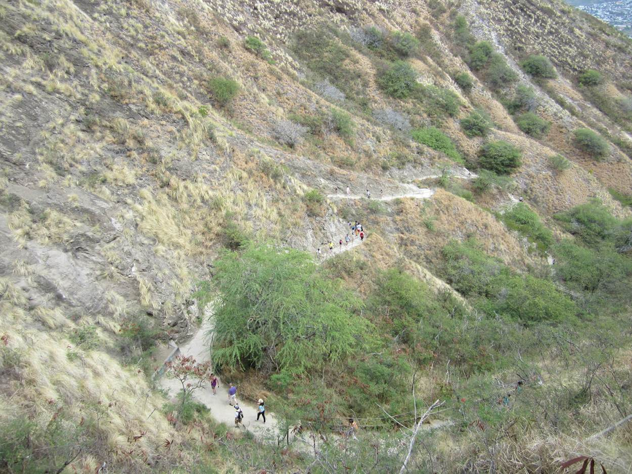 View looking down on the trail while hiking Diamond Head Volcano in Hawaii, United States