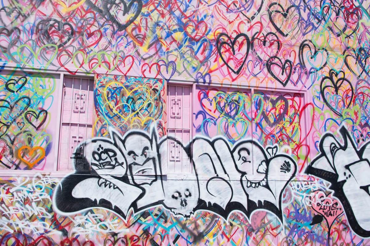 Graffiti art evolving into street art in Houston, Texas