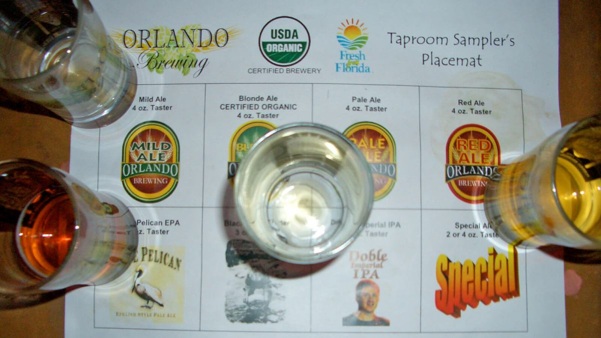 Sampling organic craft beers at Orlando Brewing in Florida