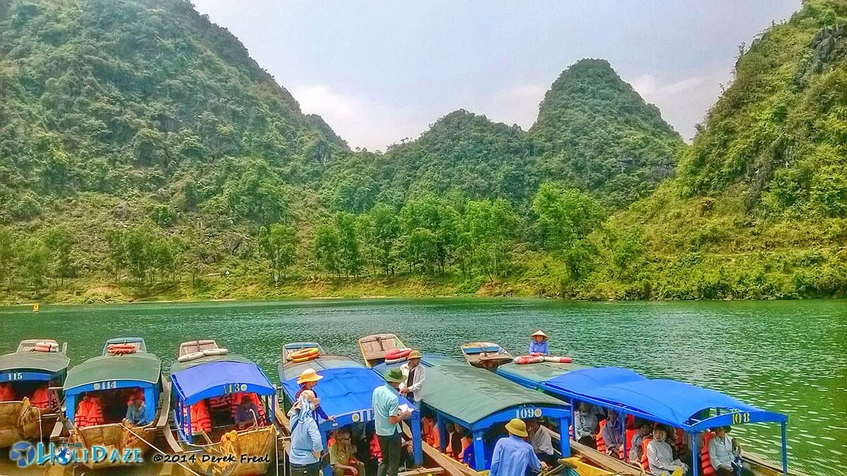 Boats transport visitors to and through the Phong Nha Cave