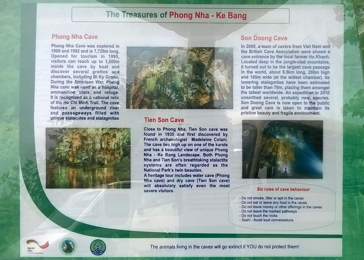 Sign at the Phong Nha-Kẻ Bàng National Park welcome center