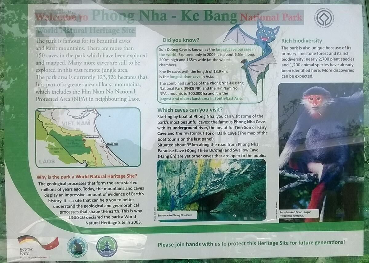 Sign at the Phong Nha-Kẻ Bàng National Park welcome center