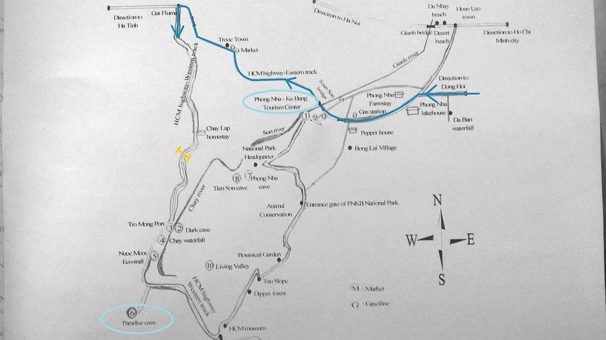 Map of Paradise Cave at Phong Nha-Ke Bang National Park, Vietnam
