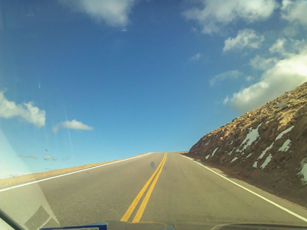 Driving to the summit of Pike's Peak in Colorado Springs