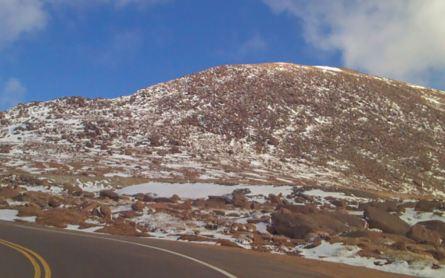 Snow starts near the summit of Pike's Peak in Colorado Springs