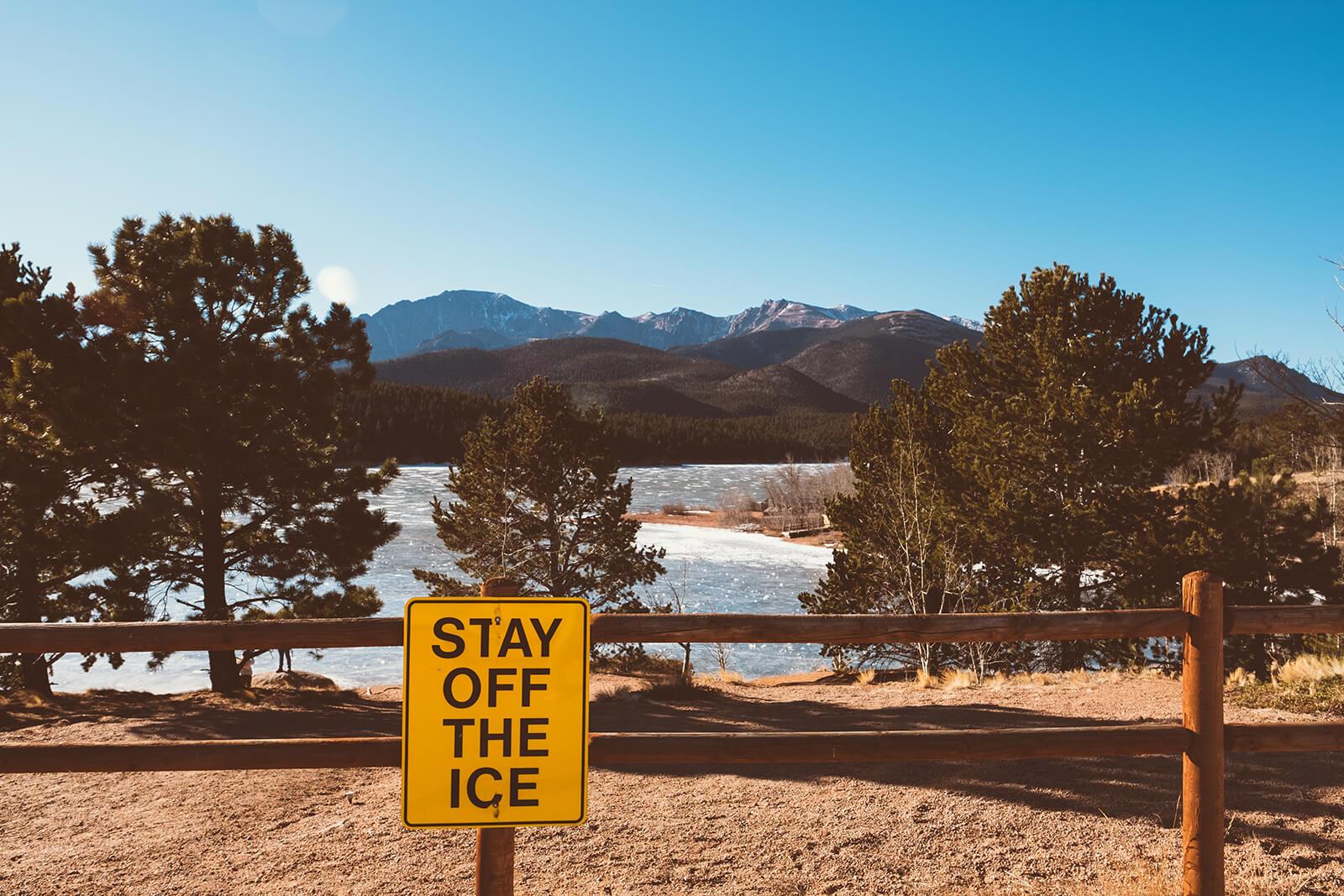 Pike's Peak Reservoir, AKA Pike's Peak Lake, is located near mile marker 16 on the drive up Pike's Peak in Colorado