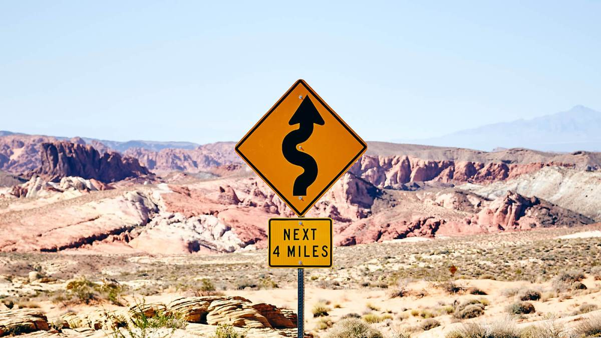 Road sign in the Valley of Fire State Park, Overton, New Mexico, United States