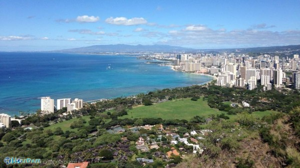 The view from the top of Diamondhead Volcano in Hawaii