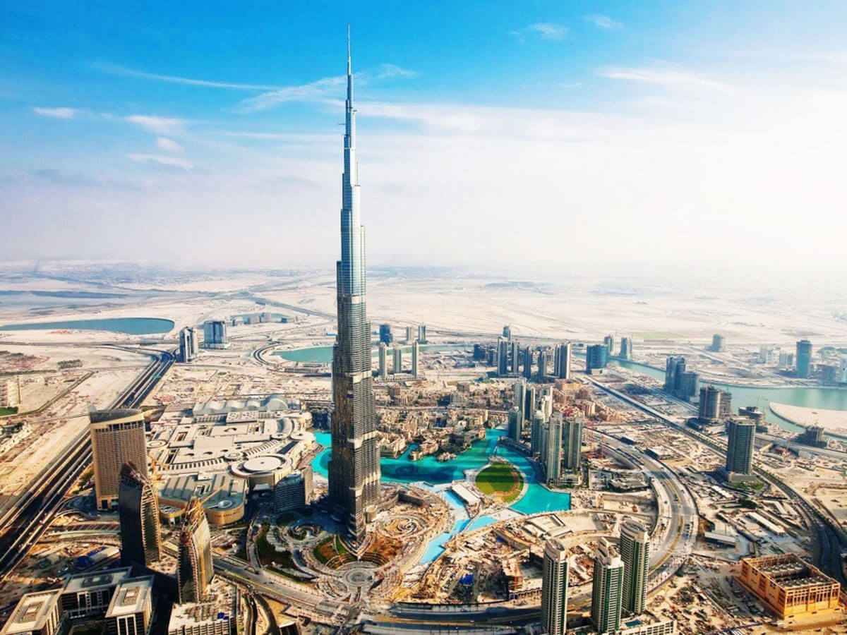 Burj Khalifa in Dubai, United Arab Emirates is the world's tallest building and home to one of the top Dubai luxury hotels