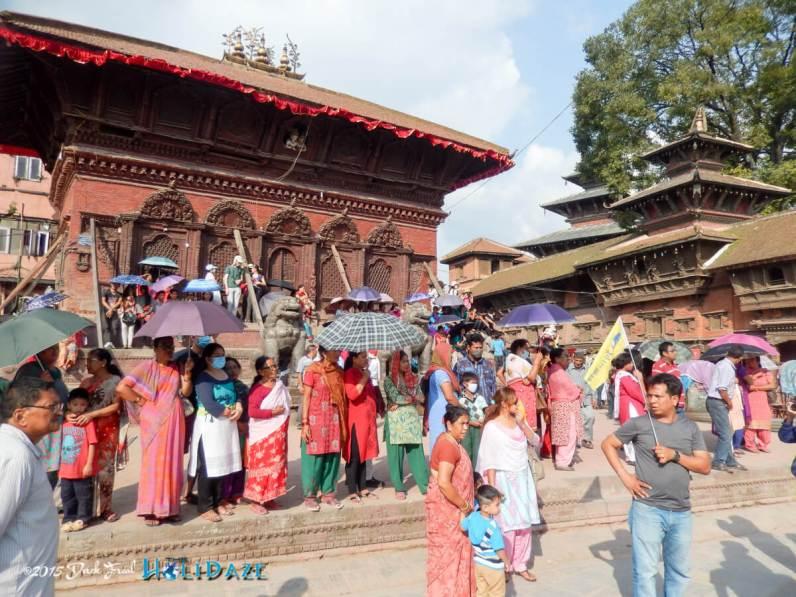 Locals in Kathmandu prepare for the start of the Indra Jatra festival