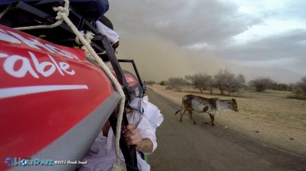 Trying to outrun a sandstorm on the first day of the Rickshaw Run 2015