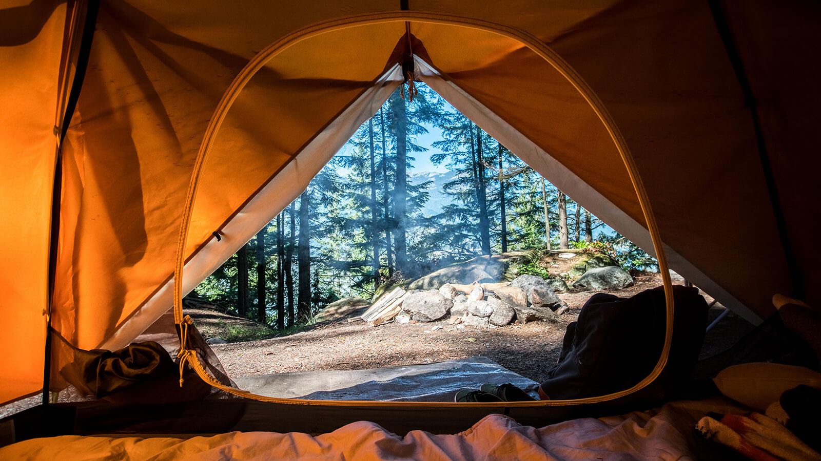 Camping in a tent