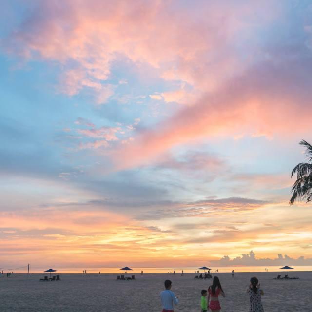 Sunset at Shangri-La Rasa Ria Resort in Sabah, East Malaysia