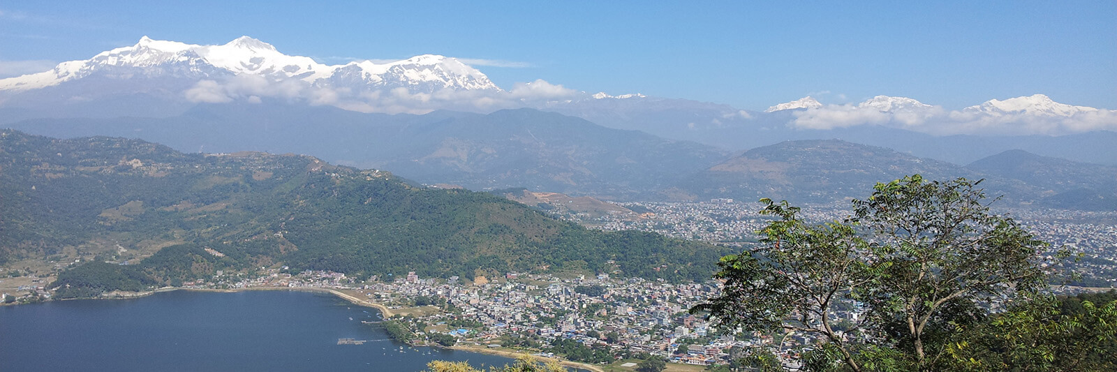 Pokhara, Nepal with the Annapurna Mountain Range in the backrgound