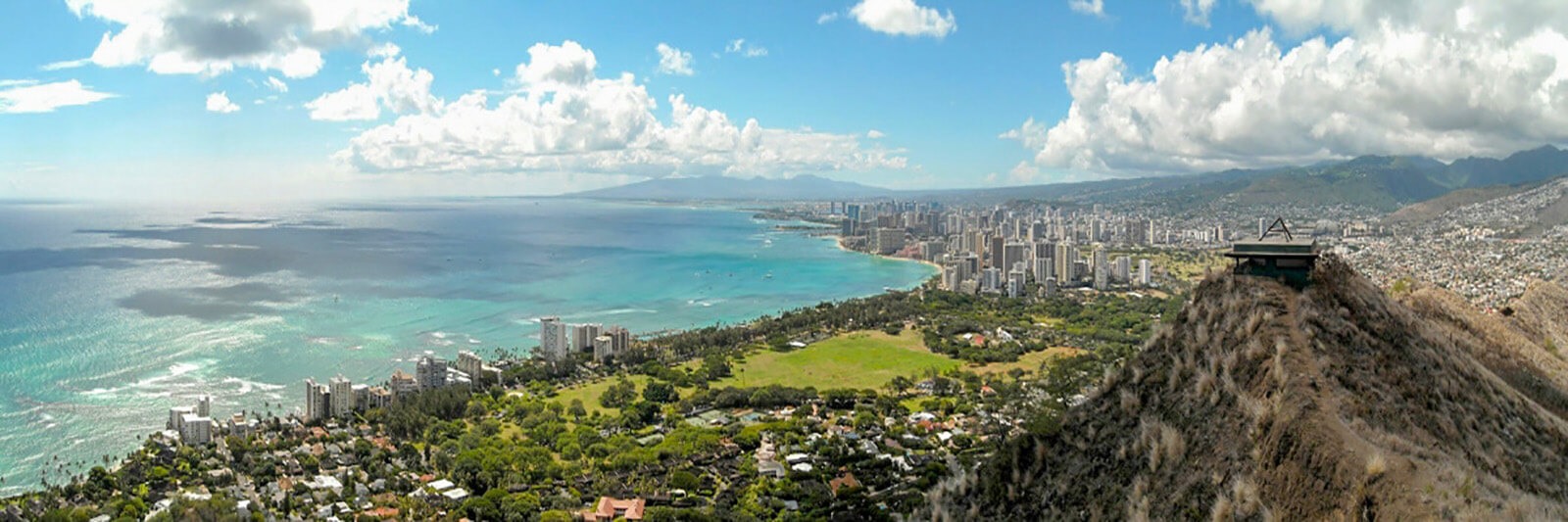View from the top Diamond Head volcano crater overlooking Waikiki Beach and Honolulu, Hawaii