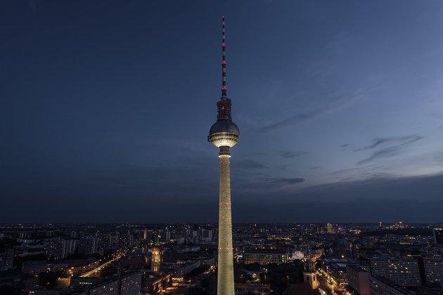 Berlin night skyline as seen from the from 40th floor Holiday Inn at Alexanderplatz, Berlin, Germany