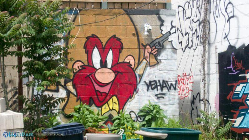 Yosemite Sam street art at Graffiti Alley, Toronto, Canada
