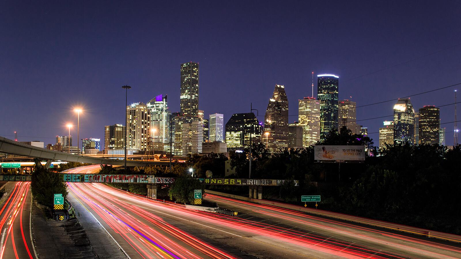 Long exposure of the Houston, Texas skyline at night