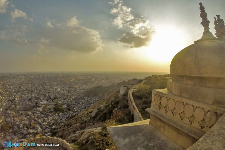 Sunset view from Nahargarh Fort in Jaipur, Rajasthan, India