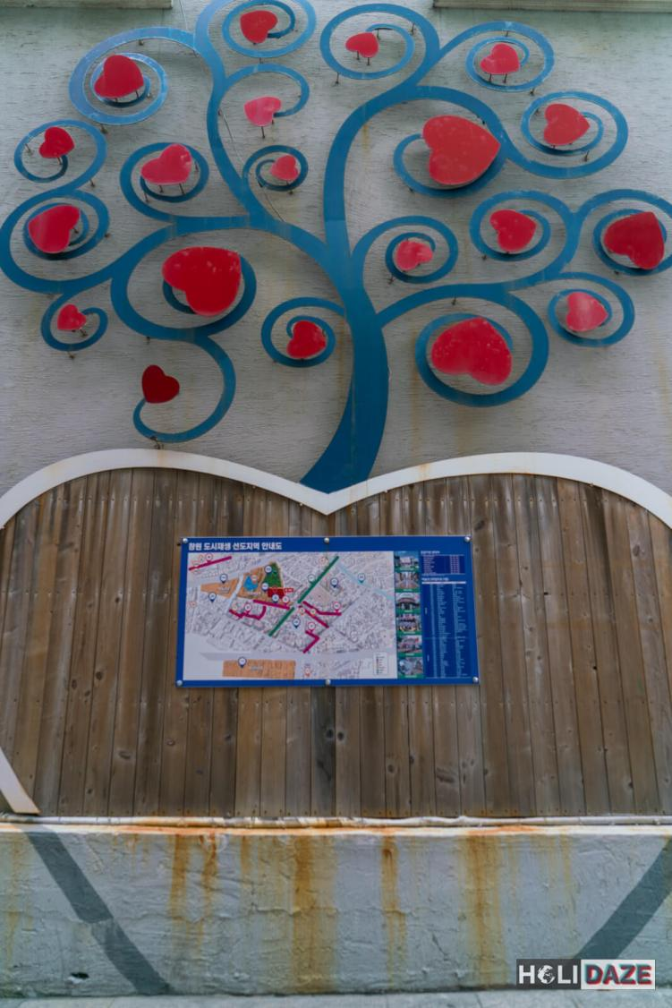 Changdong Art Village map surrounded by a work of art
