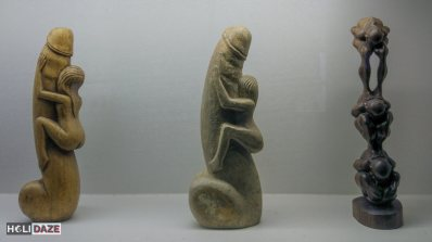 Antique wooden sexual carvings at the Love Castle sex museum in Gyeongju, South Korea