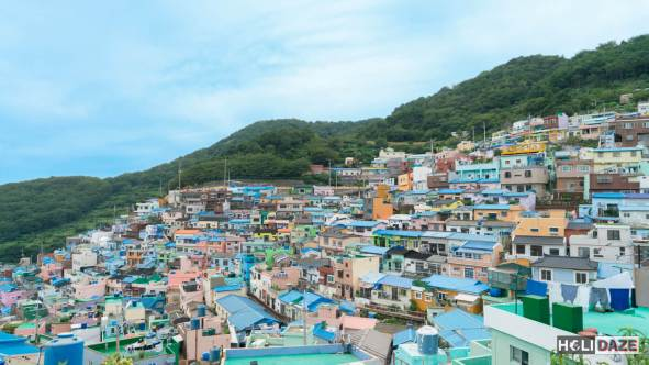 Gamcheon Cultural Village is a colorful splash on the green mountainside of Busan, South Korea