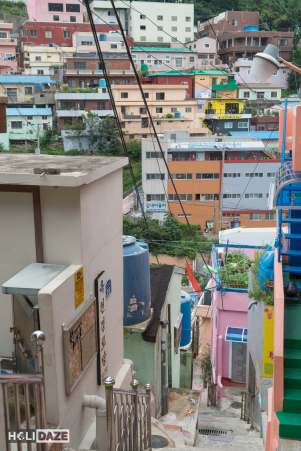 """View from halfway up the """"148 Steps"""" at Gamcheon Culture Village in Busan, South Korea"""
