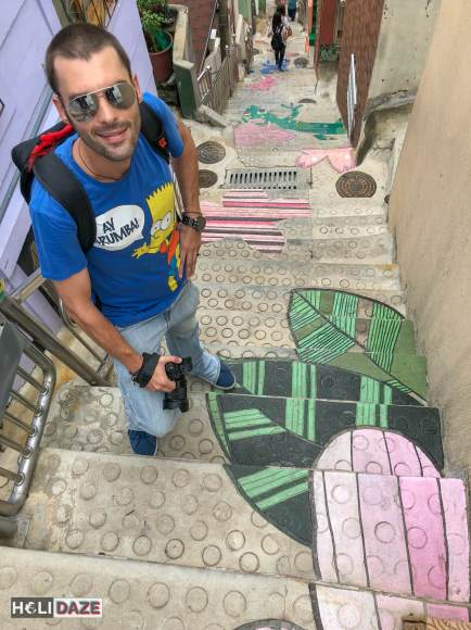 Derek Freal at the Stairs To See Stars at Gamcheon Culture Village in Busan, South Korea
