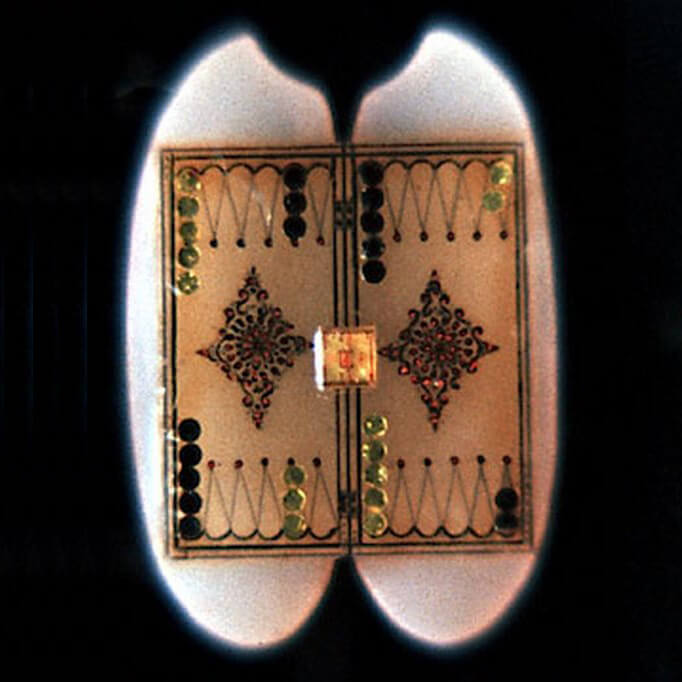 The World's Smallest Backgammon Board is constructed on a grain of rice, that has been split in half. Counters are made of obsidian and gold.