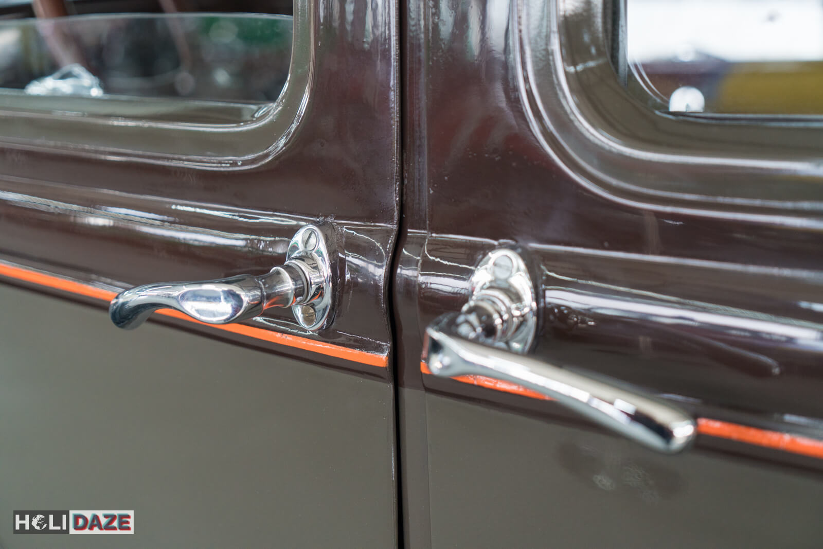 Close-up of the door handles on a 1930 Ford Model A at Tbilisi Auto Museum