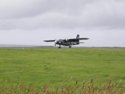 Islander landing at Papa Westray Airport in the Orkney Islands, Scotland