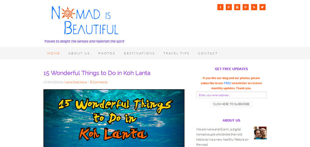 Best New Travel Blogs: Nomad Is Beautiful