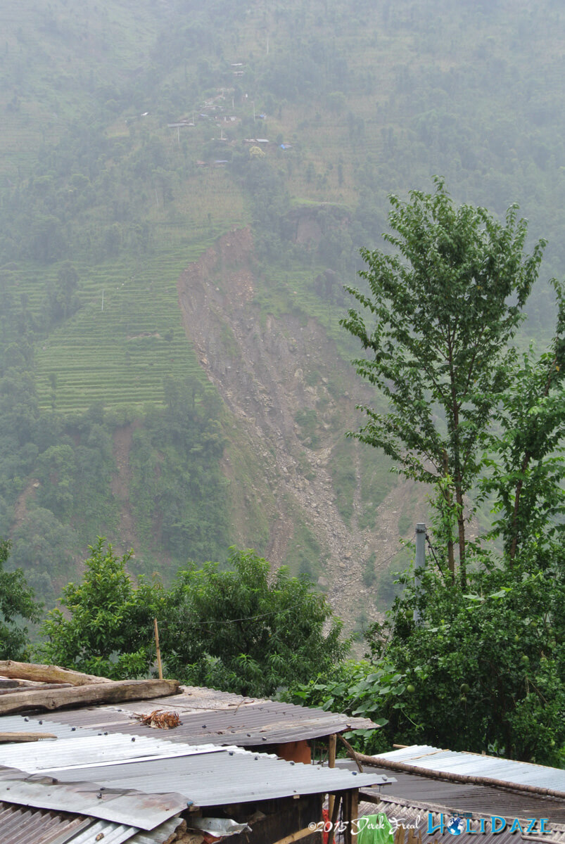 Landslides throughout the mountains of Nepal as a result of the earthquake