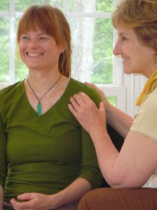 Sharing some TTouch: Instructor Debby Potts with a participant