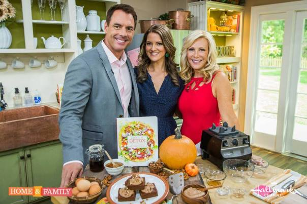 Everyday Detox author Megan Gilmore (center) posing with maple pecan glazed pumkin bars for Home & Family Show