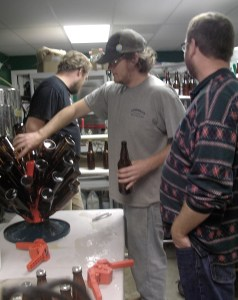 members of Caribou Mountain Collective volunteered their time to help bottle the first batch of Caribou-YA! Mountain Ale