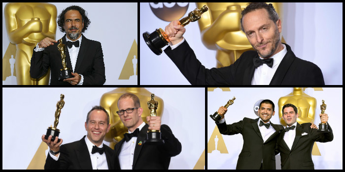 Top: Alejandro González Iñárritu, and Emmanuel Lubezki Bottom, L to R: Jonas Rivera and Pete Docter, Gabriel Osorio-Vargas and Pato Escala