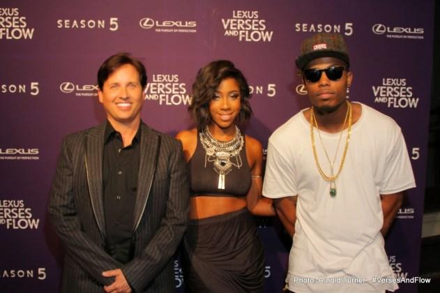 'Lexus Verses And Flow Director, Andrew Logan, Singer/Songwriter Sevyn Streeter and Platinum Recording Artist, B.o.B' (Photo Credit: Arnold Turner)