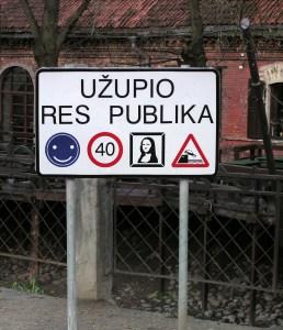 Sign for Republic of Uzupis, Vilnius
