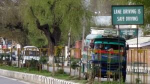 Lane Driving is Safe Driving sign, Kashmir, India