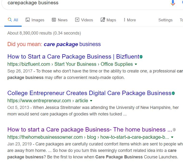 Care Package business