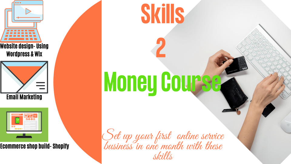 Skills2money Course is designed to help you learn 4 digital skills and start an online service based business.